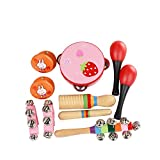 ammoon Musical Toys Kit 10pcs/set Percussion Instruments Set Band Rhythm Kit Including Tambourine