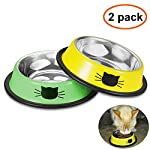 Comsmart Cat Bowl, Anti-slip Cat Food Bowl/Cat Feeding Bowl/Cat Water Bowl, Multi-purpose Double Pet Feeding Bowl (White… 16