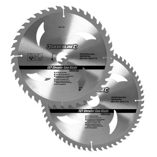 Silverline 991704 Hartmetall-Kreissägeblätter mit 40 und 60 Zähnen, 2er-Pckg 250 x 30, Reduzierstücke: 25, 20 u. 16 mm - 2