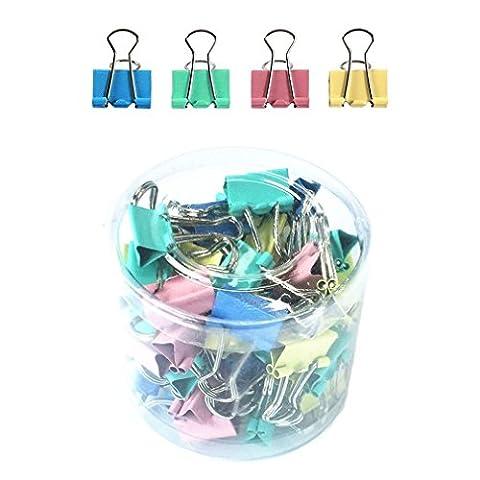 Qiorange Couleurs Assorties Mini Organisateur Pinces à Dessin de Papier Binder Clips en métal, 1 * 60 Pièces (15mm Couleur 60Pcs)