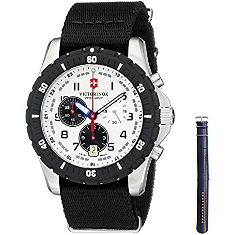 Swiss Army Maverick Sport Quartz Chronograph Steel Mens Watch Nylon Strap 241680.1