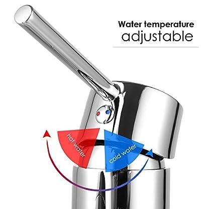 HOMFA Grifo Lacabo Extraible con Cabezal de Ducha Agua Suave Monomando de Lavabo de Baño Agua Caliente y Fría con Tubo de Extensión de 1.5m