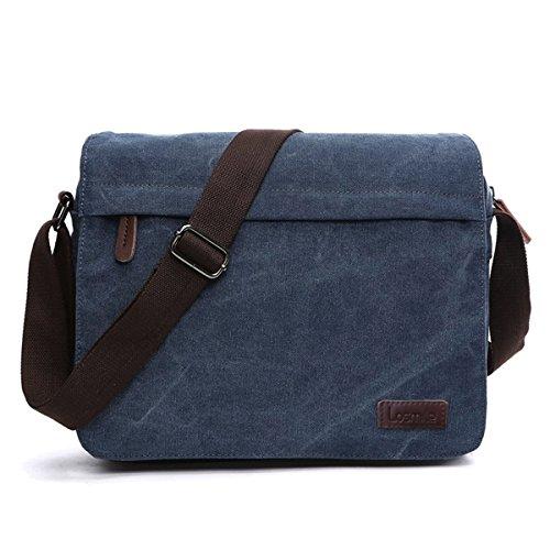 LOSMILE Herren Umhängetaschen , Leinwand Schultertaschen für Tablets ,Schulranzen, für Schule und Arbeits,für Männer und Frauen (M-Schwarz) L-Blau