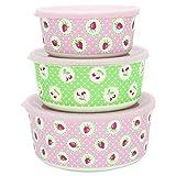 GreenGate - Boxen - Dosen - Aufbewahrungsdosen - Strawberry/Erdbeeren - Bambus - 3 er Set
