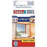 tesa Insect Stop COMFORT Fliegengitter für Fenster - Insektenschutz mit Klettband selbstklebend - Fliegen Netz ohne Bohren - weiß (leichter sichtschutz), 130 cm x 150 cm