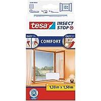 tesa Insect Stop COMFORT Fliegengitter für Fenster - Insektenschutz mit Klettband selbstklebend - Fliegen Netz ohne Bohren - Weiß, 130 cm x 150 cm