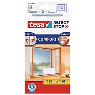 TESA Insect Stop Comfort red anti mosquitos Ventana Blanco – Mosquiteras (1300 x 10 x 1500 mm, 141 g, Blanco, 454 g)