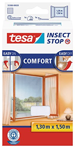 fenster 30x30 tesa Insect Stop COMFORT Fliegengitter für Fenster - Insektenschutz mit Klettband selbstklebend - Fliegen Netz ohne Bohren - Weiß, 130 cm x 150 cm
