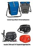 Vaude Aqua Back Single - Eine Radtasche - Farbe Blue + Gepäckträgertasche Silkroad M