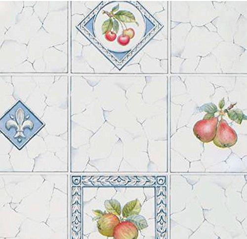Klebefolie Fruit Fliesen-Optik - selbstklebende Folie marmoriert creme blau - Dekorfolie 45x200cm Selbstklebefolie, Möbelfolie, Bastelfolie (Obst Möbel)