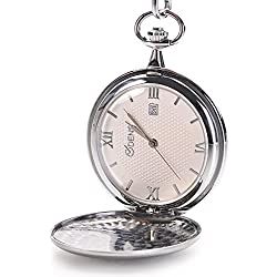 Classic Smooth Vintage Stainless Steel case Roman Numbers Mens Pocket Watch With Calendar Sliver