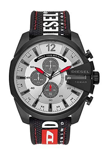 Diesel Herren Chronograph Quarz Uhr mit Nylon Armband DZ4512 (Uhren Diesel Rot)