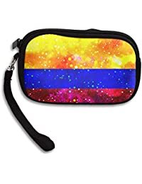 fregrthtg Coin Purse Colombia Flag Starry Flag Zipper Wallet Mini Wristlet Cash Phone Holder Change Pouch