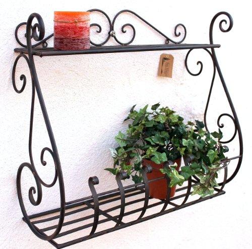 DanDiBo Wandblumenhalter Metall Schwarz 50 cm Wandregal Sebino Blumenständer Blumenregal Wandtopfhalter