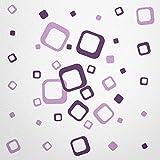 WANDfee® Wandtattoo 40 Vierecke FARBWUNSCH Farbe flieder lila zweifarbig bunte moderne Wanddeko selbstklebende retro Cubes Quadrate Wandaufkleber Wandsticker Fliesenaufkleber Dekoration Deko Aufkleber