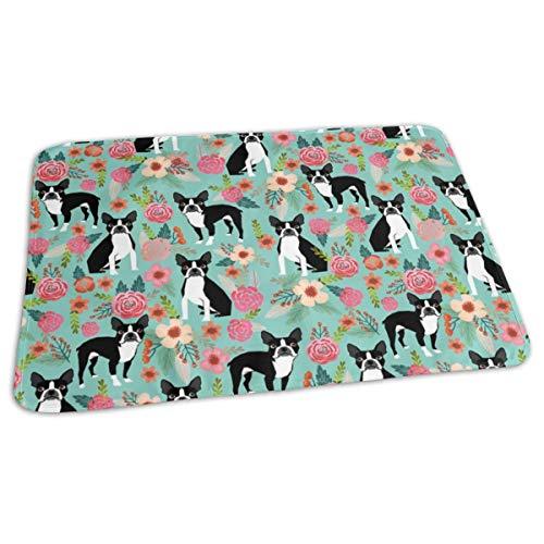 Boston Terrier Sweet Vintage Florals Flowers Dog Pet Design Mint Girls Spring Dog, Baby Portable Reusable Changing Pad Mat 19.7