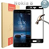 [ 2 Pack ] Nokia 8 Protecteur D'écran, PULEN Film Protection en Verre Trempé écran Protecteur [Extreme Résistant aux rayures] [Anti Rayures] [Sans Bulles D'air] 0,26mm mince Digitale HD