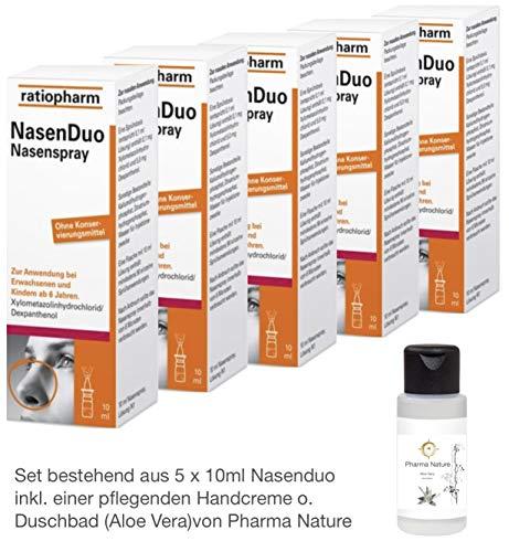 Nasenduo Nasenspray 5 x 10 ml Sparset inkl. einer hochwertigen Handcreme o. Duschbad von Pharma Nature (Apotheken-Express)