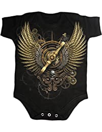 Spiral Steam Punk Windup Babystrampler, schwarz