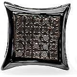 Dazzlingrock Collection Pendientes de tuerca de 0,05 quilates chapados en rodio negro con diamante redondo negro y micro pavé