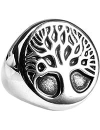 UM joyería Clásico gótico Acero inoxidable Hombres Árbol de la vida De sello anillos Negro Plata