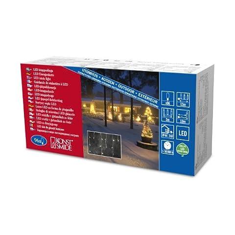 Konstsmide 2743-102 LED Eisregen Lichtervorhang / für Außen (IP44) / 24V Außentrafo / 96 warm weiße Dioden / weißes Kabel