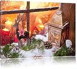 weihnachtlich dekoriertes Fensterbrett Kunst Buntstift Effekt, Format: 120x80 auf Leinwand, XXL riesige Bilder fertig gerahmt mit Keilrahmen, Kunstdruck auf Wandbild mit Rahmen, günstiger als Gemälde oder Ölbild, kein Poster oder Plakat
