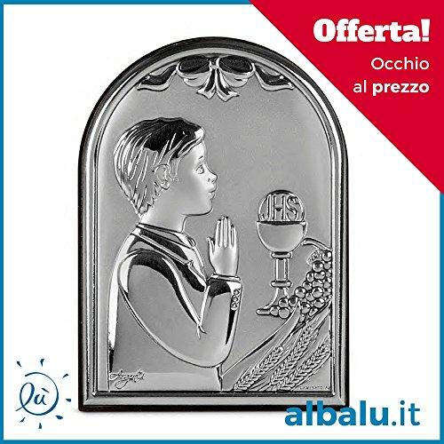 Bomboniere comunione maschio icona sacra argento laminato bambino calice comunione in preghiera
