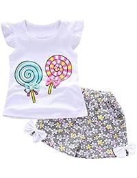 Ensembles Shorts et Haut Fille, Bonjouree T-shirts et Pantalons Courts Pour Enfant Fille 1-4 Ans