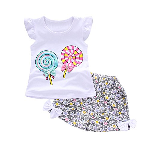 Kobay Babybekleidung Mädchen Kinder Baby Outfits 2 Stück Lollipop T-Shirt Tops + Kurze Hosen Kleidung Set Floral Babyanzug Bowknot Rüschen Bekleidungssets(12-18M,Weiß)