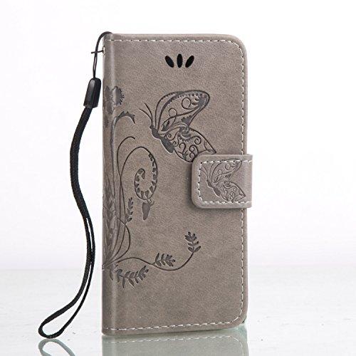 iPhone Case Cover Papillon fleurs en relief affaire PU cuir Flip Stand cas magnétique portefeuille affaire avec des poignées à main Slots de carte pour iPhone 5C ( Color : Light Brown , Size : IPhone  Gray