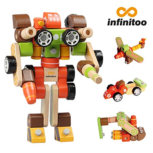 infinitoo IN6-B002 Bauklötze Holz Baukasten Kinder Holzbausteine Bauset, Mehrfarbig, 45 tlg