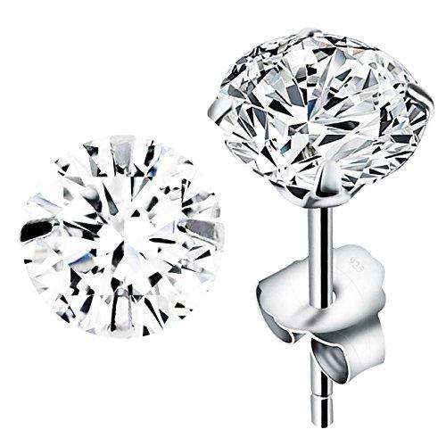 MYA art Ohrstecker 925 Sterling Silber mit einem Zirkonia Solitär Stein in Diamant Form Silberohrstecker Ohrringe Stecker Weiß Klein Rund 6mm MYASIOHR-11