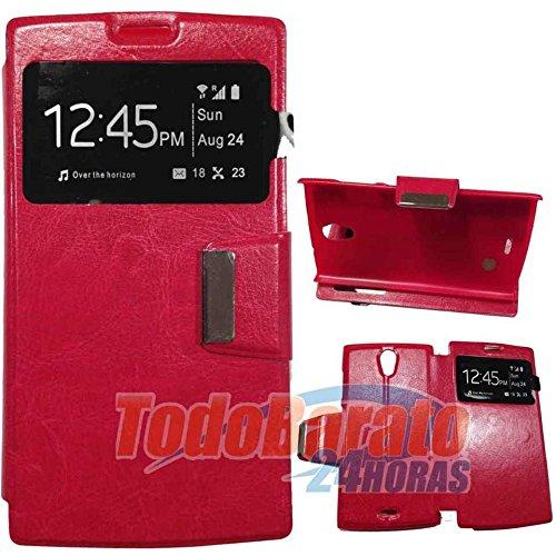 Todobarato24h Funda Libro Ventana roja Orange Nura/Alcatel One Touch M812