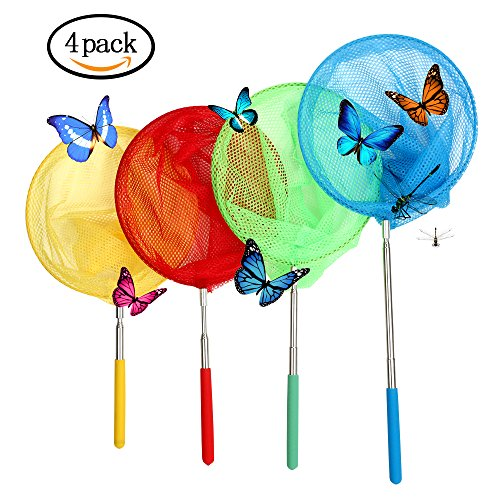 vipith 4Packungen Colorful Kinder Teleskop Schmetterling Net, ausziehbar 86,4cm und rutschfeste Grip, perfekt für Catching Bugs Insekten kleine Fische (Schmetterlings-net For Kids)