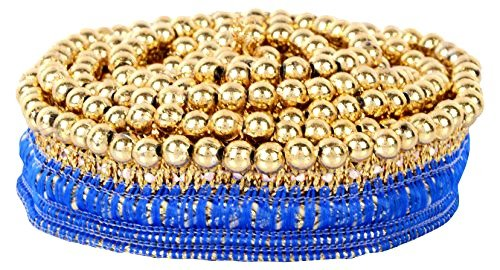Goelx Fashion Lace Royal Blue with Mounted Shiny Golden Beads for dress/sarees/lehangas/caps/bags/decorations/ borders