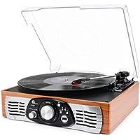 Stereo Giradischi 1byone con Cinghia a 3 Velocità e Altoparlante Integrato, Lettore Multiplo con Conversione da Vinili a MP3, USB per Riproduzione MP3, Output RCA (Connettore Phono)