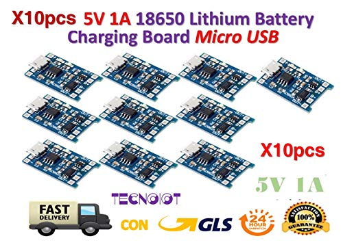 TECNOIOT 10pcs 5V 1A Micro USB 18650 Lithium Battery Charging Board Charger Module Usb Power Booster