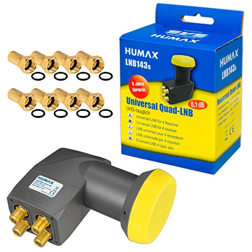 Humax Quad Ultra LNB LNC 4 Teilnehmer Direkt LNB143s ✨ FULL HD TV 3D 4K ■ Kontakte vergoldet ■ Wetterschutz (ausziehbar) ■ 8 Vergoldete F-Stecker Gratis dazu von HB-DIGITAL