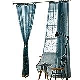 JIAJU Tüll Vorhänge Dick Baumwoll Leinen Tüll Vorhänge Dekoratives Hotel Modern Modernes europäisches Schiere Blau 1 Stück, 3 * 2.7m