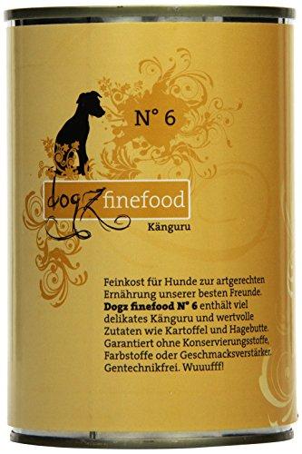 hundeinfo24.de Dogz finefood Hundefutter No.6 Känguru 400g, 6er Pack (6 x 400 g)