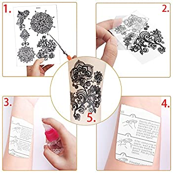 Outee 15 Sheets Black Temporary Tattoos Fake Jewelry Tattoos Henna Temporary Tattoos Temporary Flash Tattoos For Adults & Kids 4