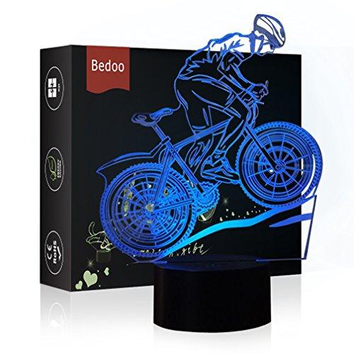 HeXie Weihnachtsgeschenk Magie Flying Bike Lampe 3D Illusion 7 Farben Touch-schalter USB Einsatz LED-Licht Geburtstagsgeschenk und Party Dekoration
