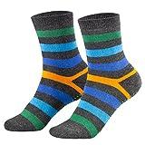 Piarini 2 Paar Kinder Stoppersocken ABS Socken - Anti Rutschsocken mit Noppen aus Baumwolle - Jungen Mädchen Geringelt