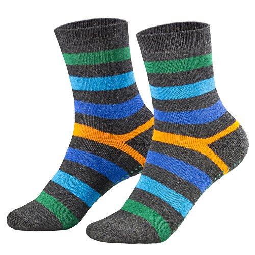 Piarini 2 Paar Kinder Stoppersocken ABS Socken Anti Rutschsocken Noppen Baumwolle Jungen Mädchen Anthrazit Gr. 31 32 33 34