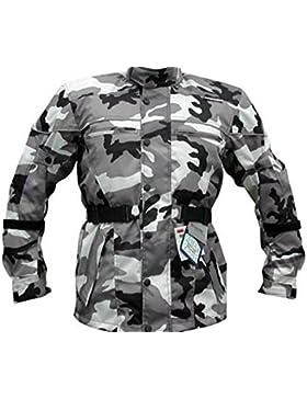 Bikers Gear UK chaqueta de Moto con reforzado en los hombros y codos homologados CE color Gris camuflaje 5XL