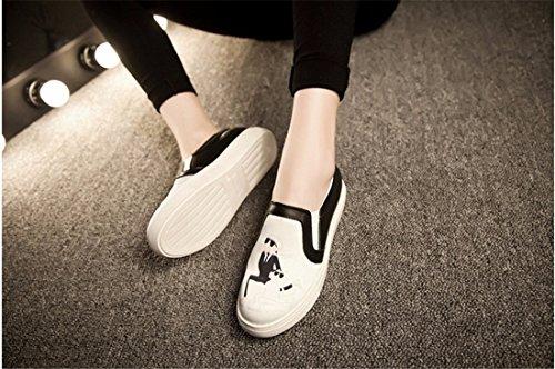 QIYUN.Z 3D De La Mode Des Femmes Imprimes Roche Vachette Plat Patin Casual Mocassin Chaussures Simples Chat Blanc