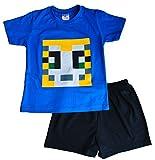 Stampy Cat Unisex SHORT Pyjamas StampyLongNose Head PIXEL Blue 7 to 12 Years (7-8 Years)