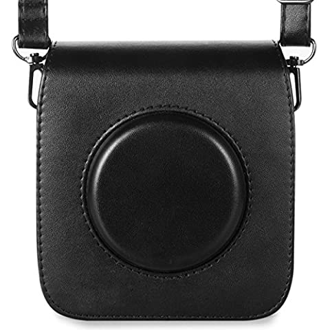 Woodmin Retro PU Leather Camera Case for Fujifilm Instax Square SQ10 Hybrid Instant with Adjustable Shoulder Strap (Black)