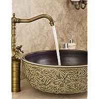 dahuuyus stile moderno elegante e pratico casa cucina e bagno rubinetto bagno Piano lavabo doppio manico lavabo in ottone anticato